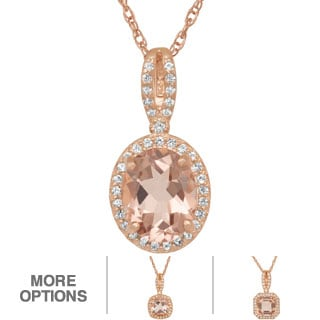 Gioelli Rose Gold/ Silver Simulated Morganite and Created Sapphire Necklace