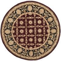 Safavieh Handmade Naples Burgundy/ Black Wool Rug - 8' Round