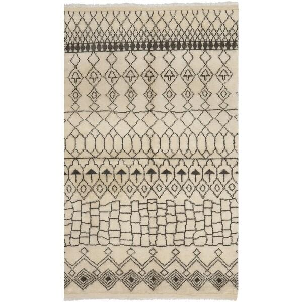 Safavieh Hand-knotted Loft Cream/ Brown New Zealand Wool Rug - 8' x 10'