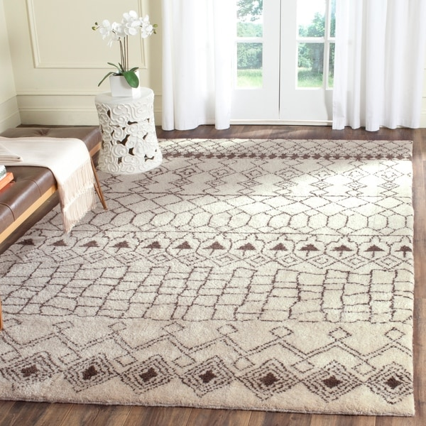 Safavieh Hand-knotted Loft Cream/ Brown New Zealand Wool Rug - 8' x 10'