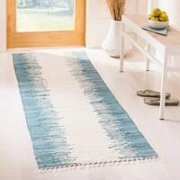 Safavieh Hand-woven Montauk Blue Cotton Rug - 2'3 x 9'