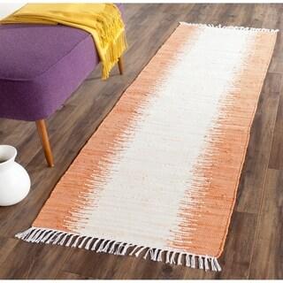 Safavieh Hand-woven Montauk Orange Cotton Rug (2'3 x 6')