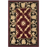 Safavieh Handmade Naples Burgundy/ Black Wool Rug - 2'6 x 4'6