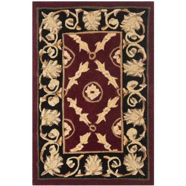 Safavieh Handmade Naples Burgundy Black Wool Rug 2 6 X 4 6 Free Shipping Today