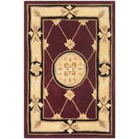 Safavieh Handmade Naples Burgundy/ Ivory Wool Rug (2' x 3')