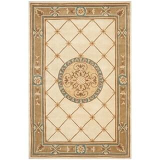 Safavieh Handmade Naples Ivory/ Caramel Wool Rug (5' x 8')