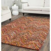 Safavieh Handmade Nantucket Abstract Chevron Multi Cotton Rug (8' x 8' Square)