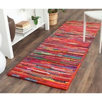 Safavieh Handmade Nantucket Abstract Pink/ Multi Cotton Runner Rug - 2'3 x 8'