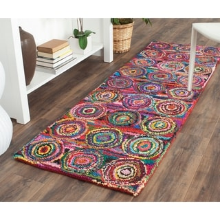 Safavieh Handmade Nantucket Modern Abstract Pink/ Multi Cotton Runner Rug (2' 3 x 8')