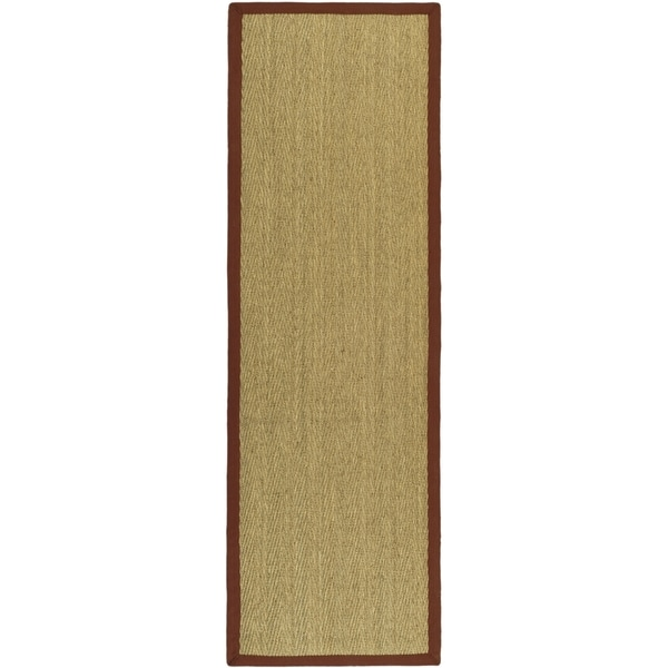 Safavieh Casual Natural Fiber Natural / Red Seagrass Rug (2'6 x 10')