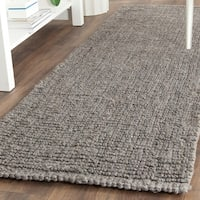 "Safavieh Handmade Natural Fiber Barbados Chunky Thick Light Grey Jute Rug - 2'6"" x 10'  Runner"