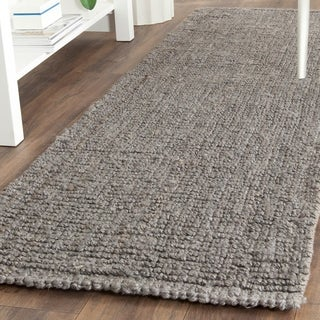 "Safavieh Casual Natural Fiber Hand-Woven Light Grey Chunky Thick Jute Rug - 2'6"" x 10'"