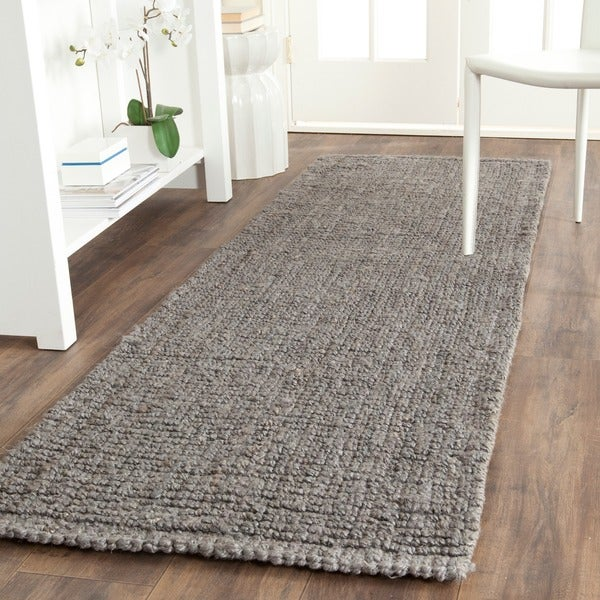 Shop safavieh casual natural fiber hand woven light grey for Thick area rugs sale