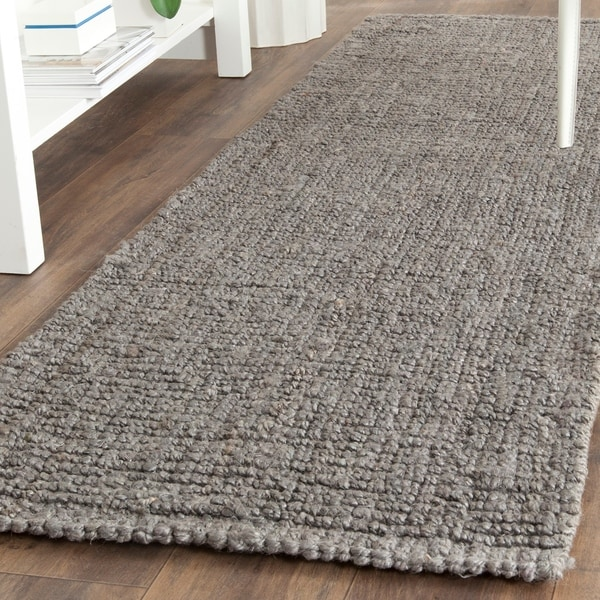 "Safavieh Handmade Natural Fiber Barbados Chunky Thick Light Grey Jute Rug - 2'6"" x 8' Runner"