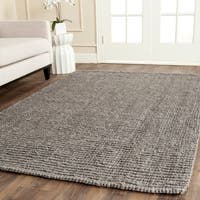 Safavieh Casual Natural Fiber Hand-Woven Light Grey Chunky Thick Jute Rug - 6' Square