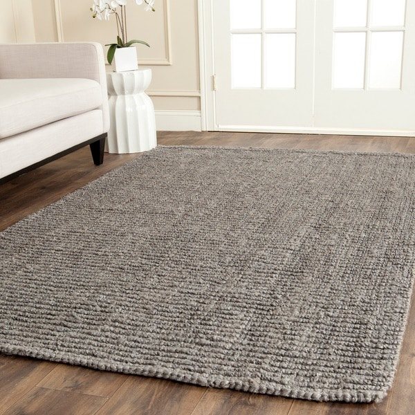Safavieh hand woven light grey chunky thick jute rug 9 39 x for Dining room rugs 9x12