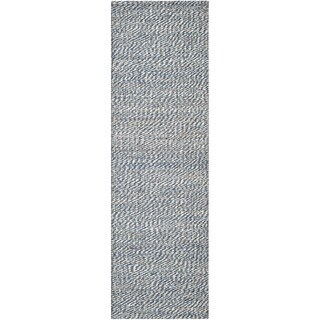 Safavieh Casual Natural Fiber Hand-Woven Doubleweave Blue/ Ivory Jute Rug (2'6 x 12')