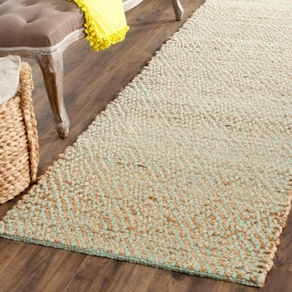 Safavieh Casual Natural Fiber Hand-Woven Natural/ Green Jute Rug (2'6 x 10')
