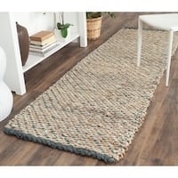 Safavieh Casual Natural Fiber Hand-Woven Blue/ Natural Jute Rug - 2'6 x 10'