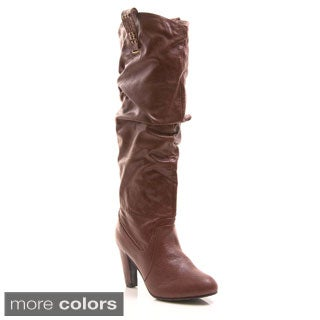 Gomax Suedette Afina-07 Ruched Pull-On Boot with Studded Tabs
