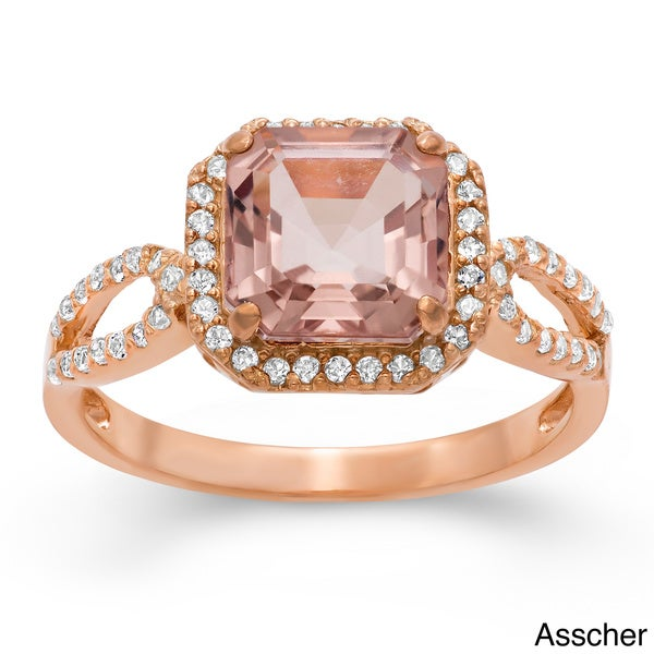 Gioelli Rose Gold/ Silver Quartz and Created Sapphire Ring