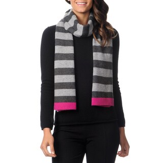 Ply Cashmere Women's Heather/ Pink Striped Scarf