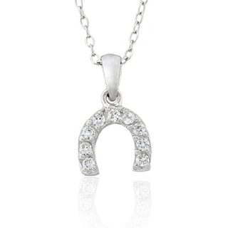 Molly and Emma Sterling Silver Children's Cubic Zirconia Horseshoe Necklace