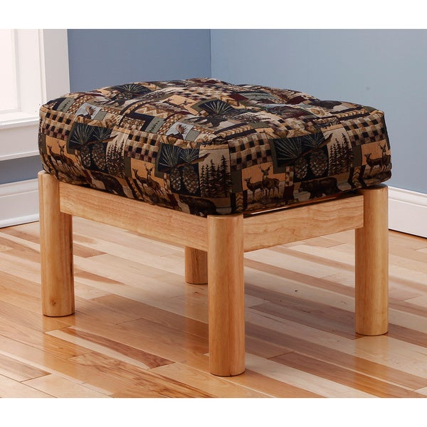 Somette Aspen Ottoman Lodge Natural Frame with Peter's Cabin Cushion