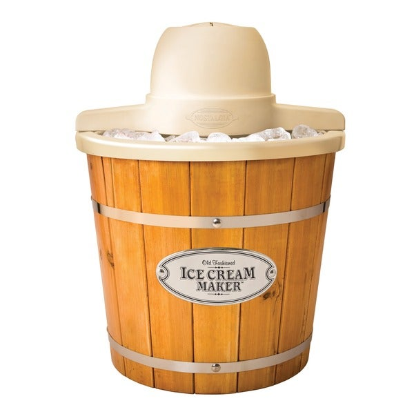 Nostalgia ICMP400WD Vintage Collection 4 qt. Wood Bucket Electric Ice Cream Maker with Easy-clean Liner