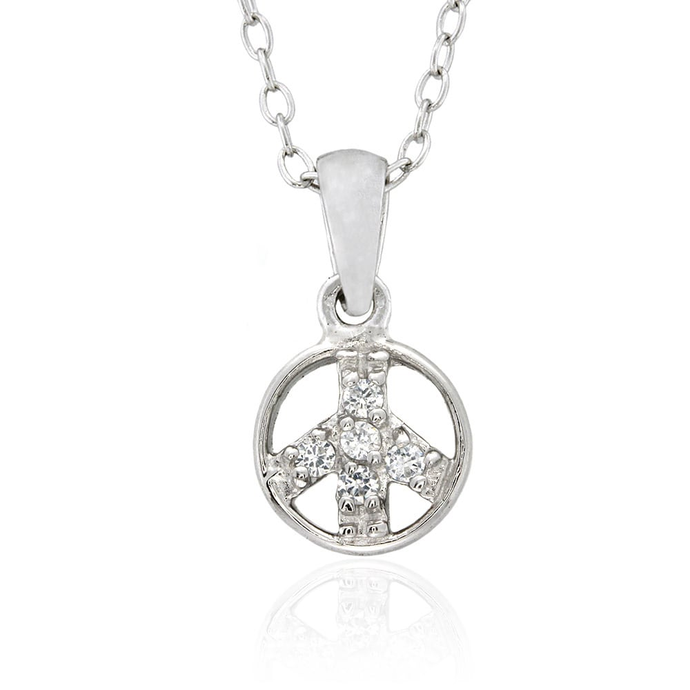 Molly and Emma Sterling Silver Children's CZ Peace Sign N...