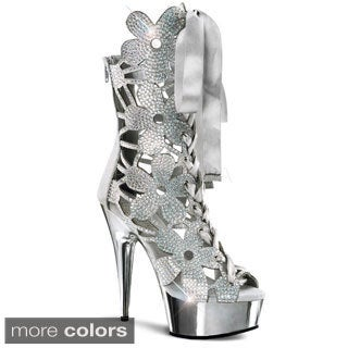 Pleaser Women's 'Delight-600-36' Rhinestone Floral Platform Heels