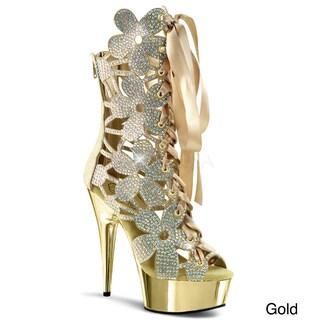 Pleaser Women's 'Delight-600-36' Rhinestone Floral Platform Heels (Option: Gold - 6)
