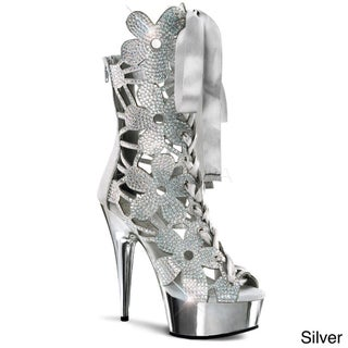 Pleaser Women's 'Delight-600-36' Rhinestone Floral Platform Heels (2 options available)
