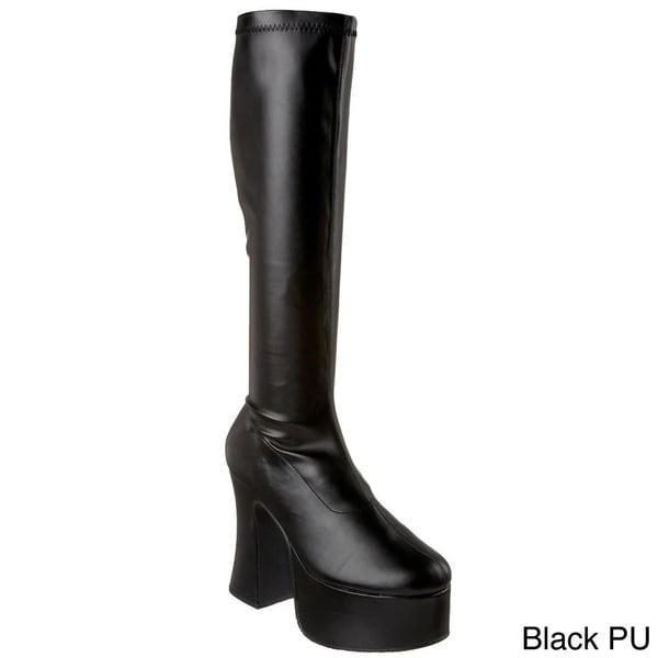 210d475d5cb7 Shop Demonia  Slick-100  Women s Chunky Heel Gogo Boots - Free ...