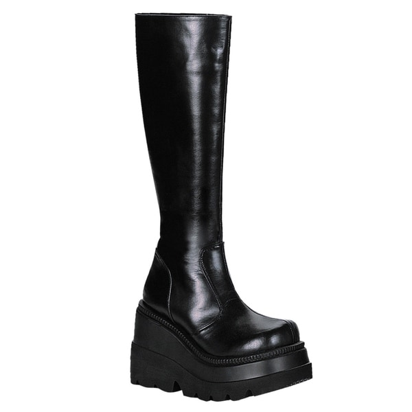 Demonia 'Shaker-100' Women's 4.5-inch Wedge Heel Goth/Punk Lolita Knee High Boots