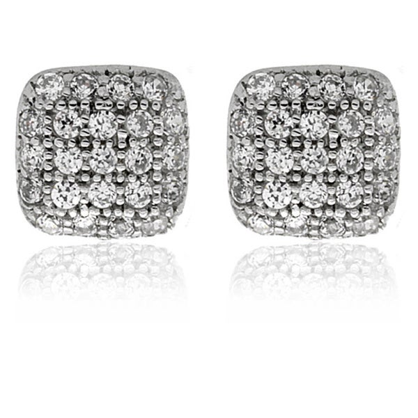 Molly and Emma Sterling Silver Children's CZ Square Stud Earrings
