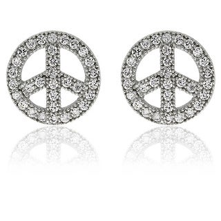 Molly and Emma Sterling Silver Children's CZ Peace Sign Stud Earrings
