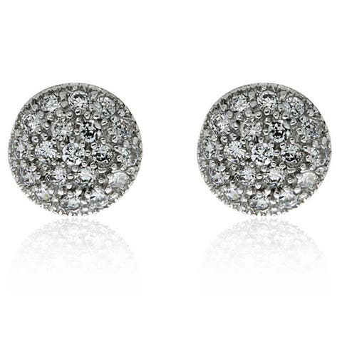 Molly and Emma Sterling Silver Children's CZ Circle Stud Earrings