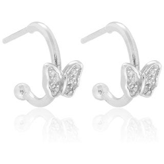 Molly and Emma Sterling Silver Children's CZ Butterfly Dangle Earrings