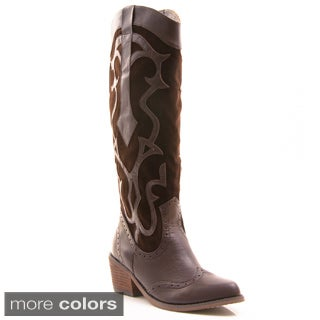 Gomax Women's 'Cowboy-20' Knee-high Cowgirl Boots - Free Shipping ...