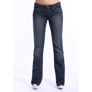 Stitch's Women's Medium Blue Sandblasted Boot Cut Jeans
