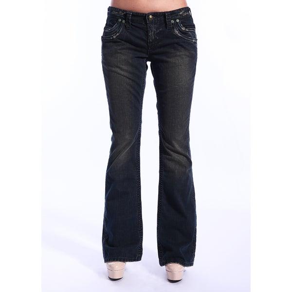 Stitch's Women's Crow Sandblasted Dark Wash Flared Jeans