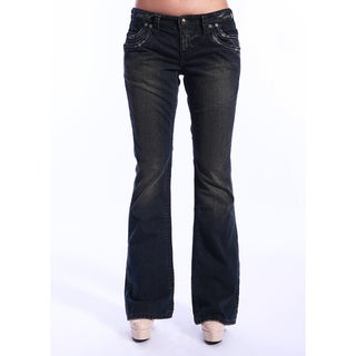Stitch's Women's Crow Sandblasted Dark Wash Flared Jeans