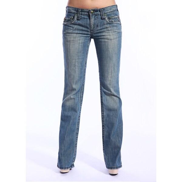 Stitch's Women's Medium Wash Sandblasted Boot Cut Jeans