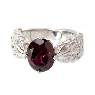 Sterling Silver Oval Rhodolite Garnet Filigree Ring