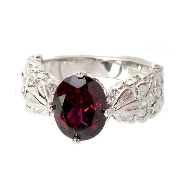 Sterling Silver Oval Rhodolite Garnet Filigree Ring