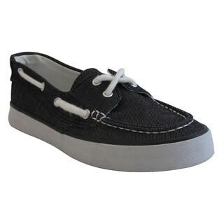Women's Black Moc Toe Canvas Comfort Shoes