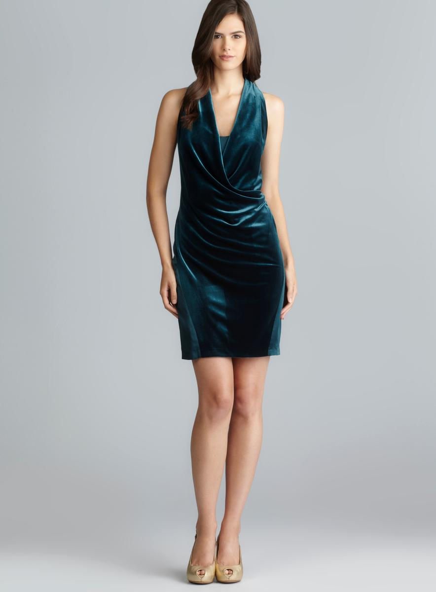 Aidan Mattox Sleeveless Draped Front Velvet Dress