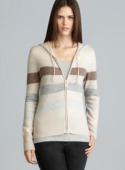Chelsea & Theodore Beige Combo Striped Cashmere Petite Hoodie