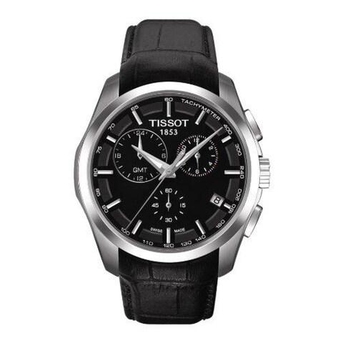 Tissot Men's T035.439.16.051.00 'Couturier' Black Dial Black Leather Strap Chronograph GMT Swiss Automatic Watch